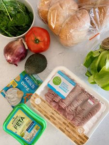 Flaylay shot of Ingredients for Turkey Burgers