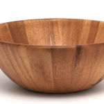 wooden salad bowl with white background
