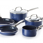 5 blue sauce pans with white background