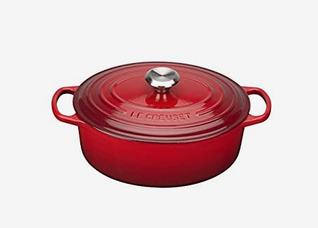 red dutch oven on white background
