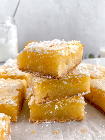 3 lemon bars stacked on top of each other