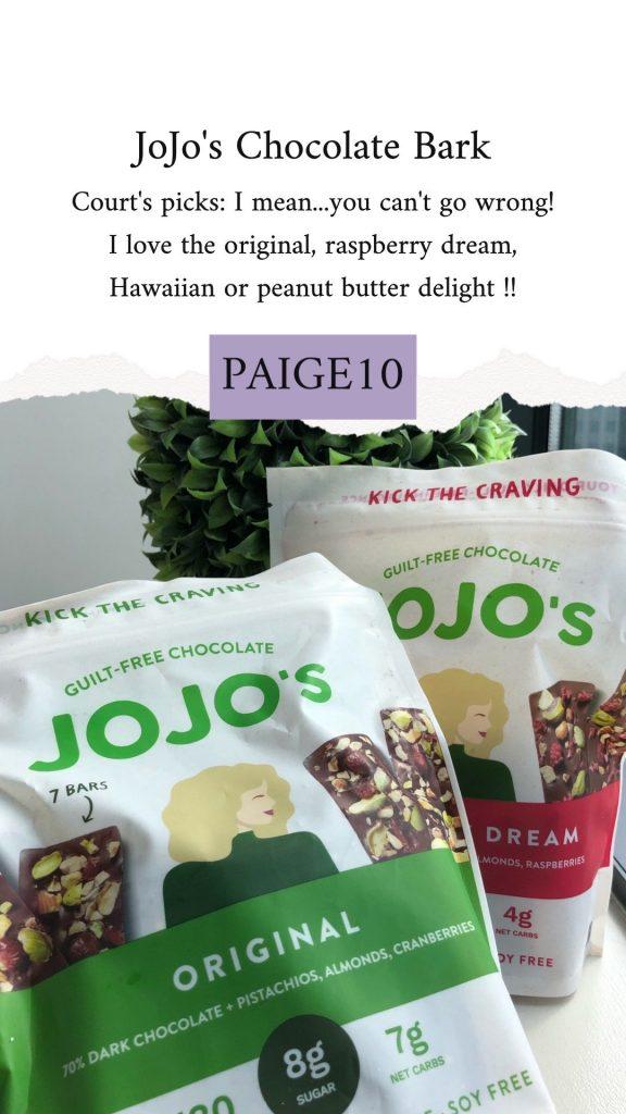 Jojo's chocolate bars with promo code