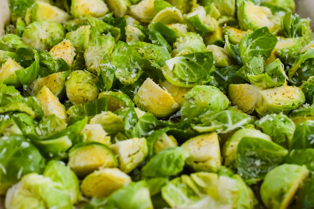 Crispy Parmesan Brussels Sprouts on a sheet pan
