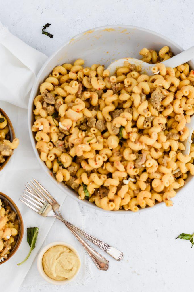 Bowl of Spicy Sausage Hummus Pasta