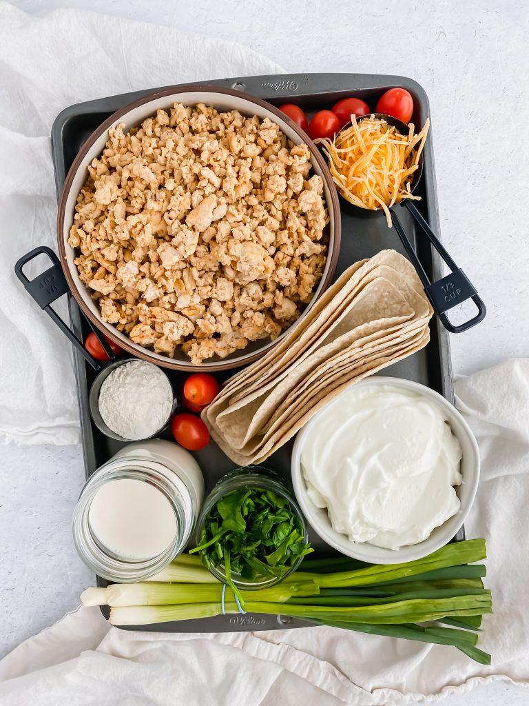 Skinny Turkey Enchilada ingredients on a baking sheet