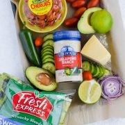 Jalapeño Ranch Taco Salad ingredients on a sheet pan