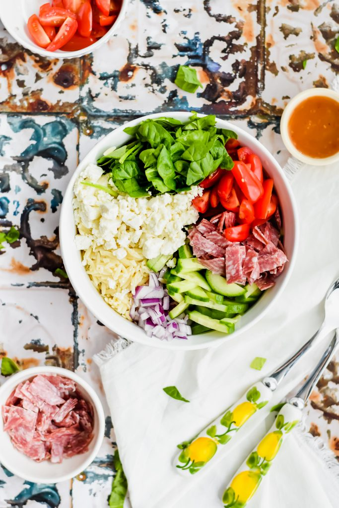 Bowl of Orzo Pasta Salad