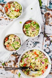 4 bowls of Orzo Pasta Salad