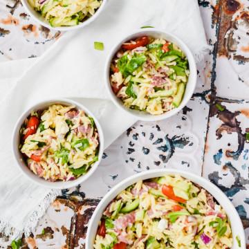 4 bowls of Orzo Pasta Salad