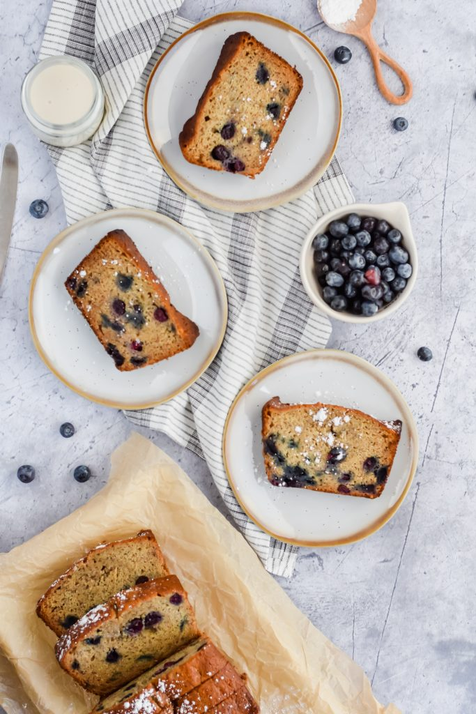 3 slices of Blueberry Banana Bread on plates