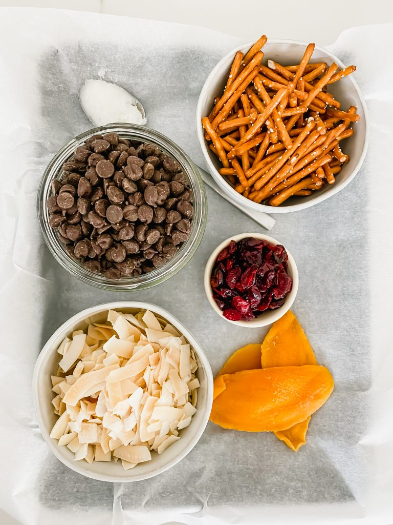 Bowls of chocolate chips, pretzels, dried fruit, and coconut shavings