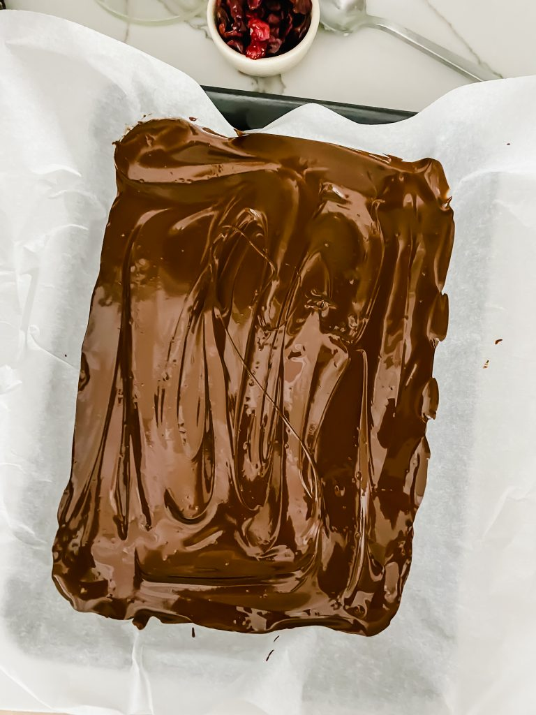 Melted chocolate on a sheet pan