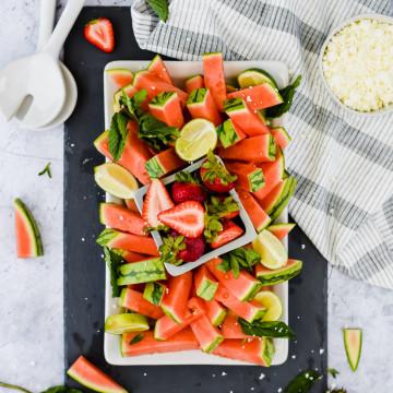 Watermelon Mint Feta Salad on a white serving tray