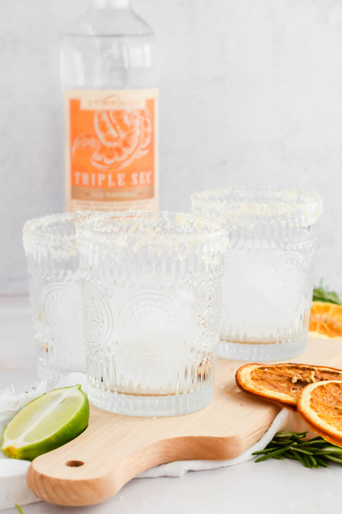 cocktail classes filled with ice and rims lined with truffle salt