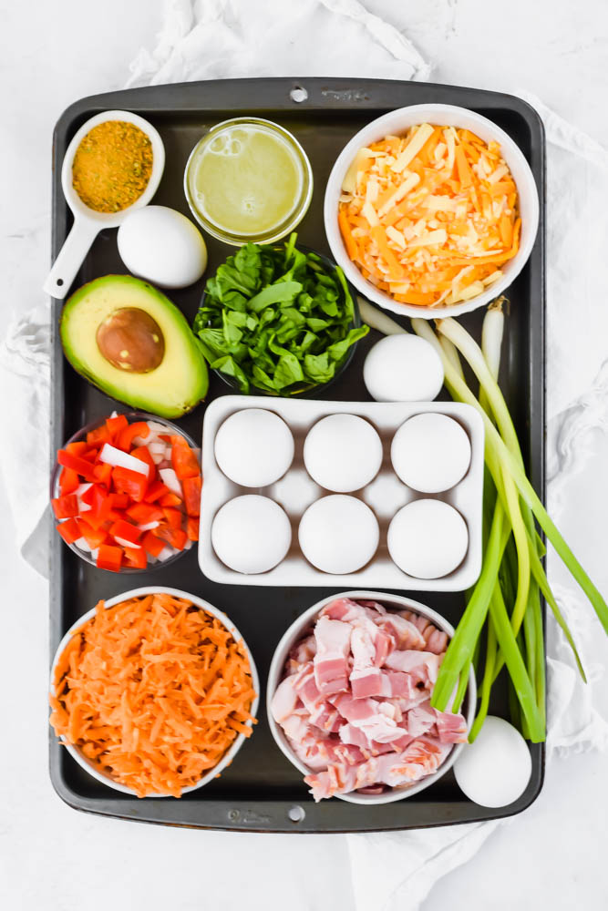 overhead image of vegetables for bacon sweet potato and egg breakfast casserole